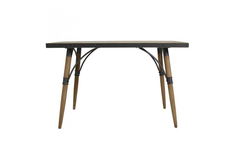 Table a manger metal et bois maison design for Table noir et bois