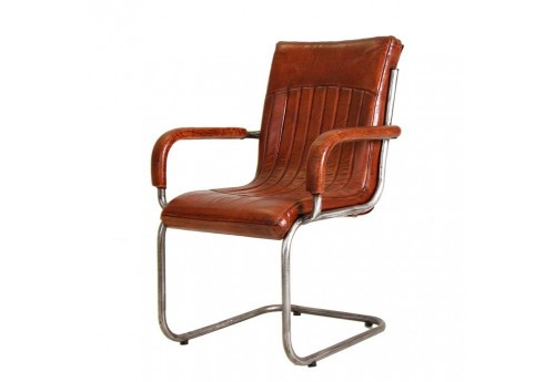 Chaise traineau avec accoudoirs marron et chrome Vical Home