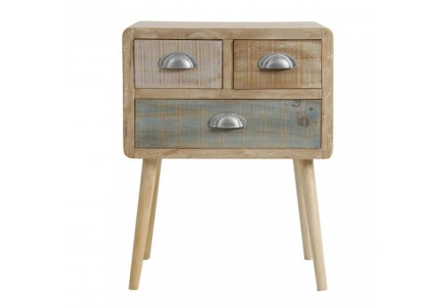 Table de chevet 3 tiroirs bicolore scandinave Vical Home