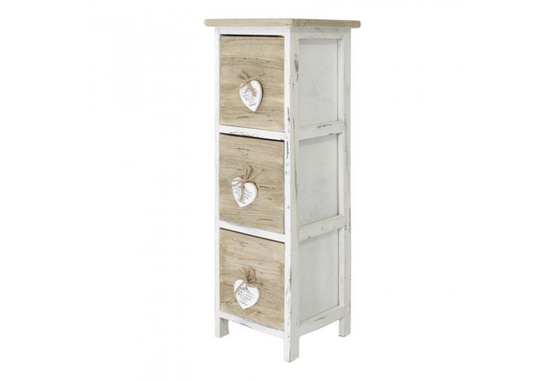 meuble d 39 appoint 3 tiroirs en bois brut et blanc avec petit c ur bl. Black Bedroom Furniture Sets. Home Design Ideas