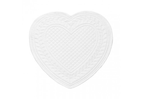 Set de table boutis coeur 30x30 cm blanc Coté Table (Lot de 12)