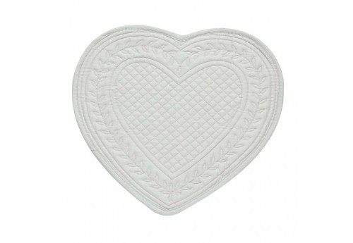 Set de table boutis coeur 30x30 cm gris perle Coté Table (Lot de 12)