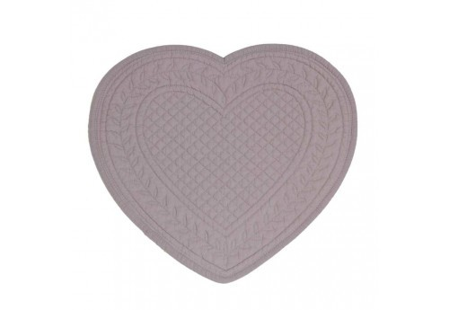 Set de table boutis coeur 30x30 cm rose Coté Table (Lot de 12)