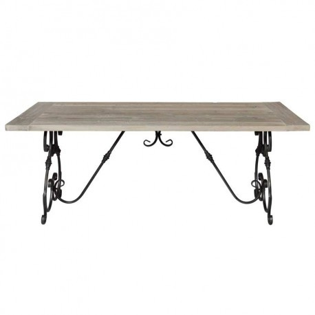 Table manger r tro en fer et vieux pin 200x100x78 cm for Table a manger retro