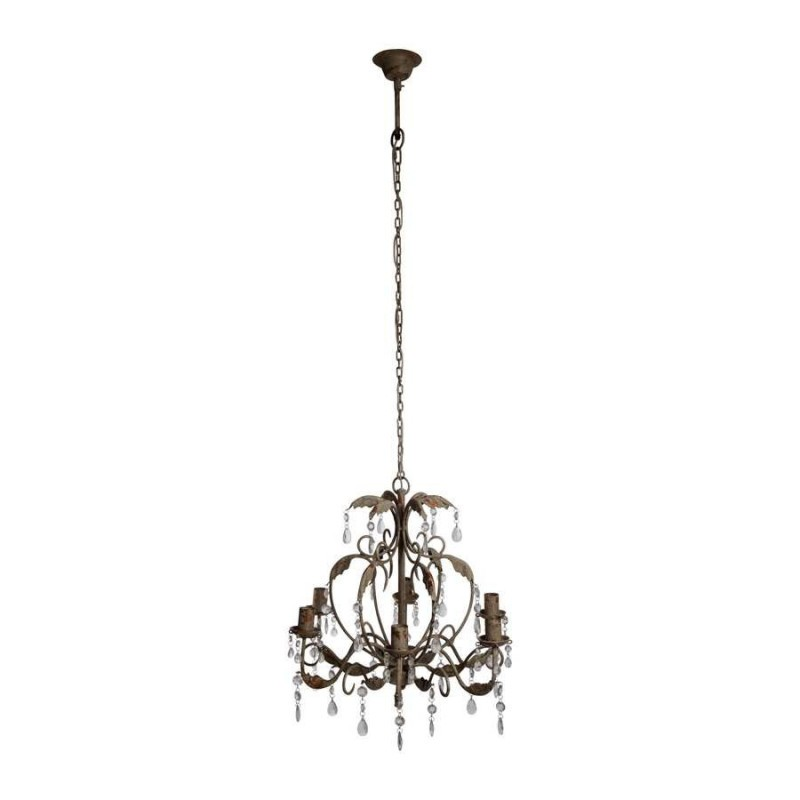 lustre 6 branches pampilles baroque fontainebleau d 64 cm gris cot table ebay. Black Bedroom Furniture Sets. Home Design Ideas