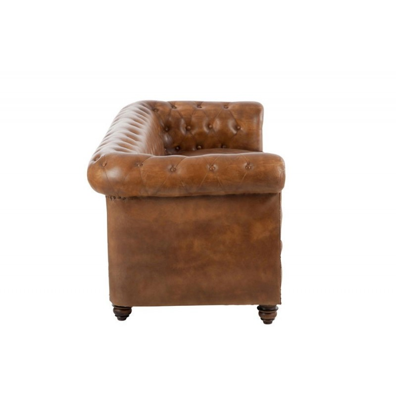Canap chesterfield en cuir cognac 185x77x79cm ebay for Canape chesterfield cuir
