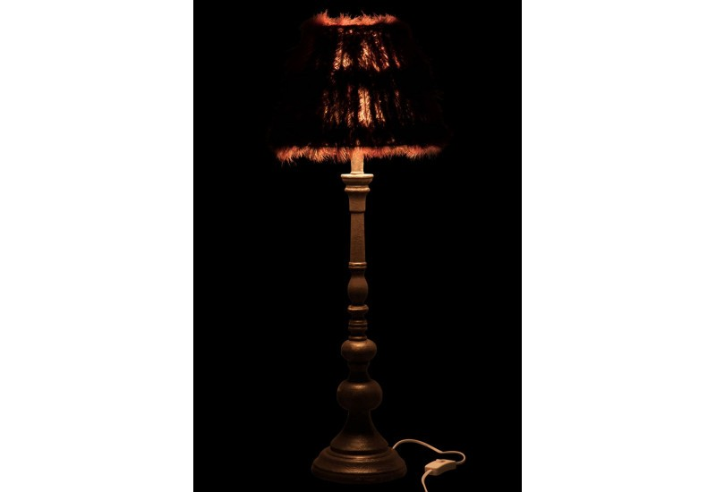 lampe plumes autruche aubergine 71x24cm j line by jolipa 25068. Black Bedroom Furniture Sets. Home Design Ideas