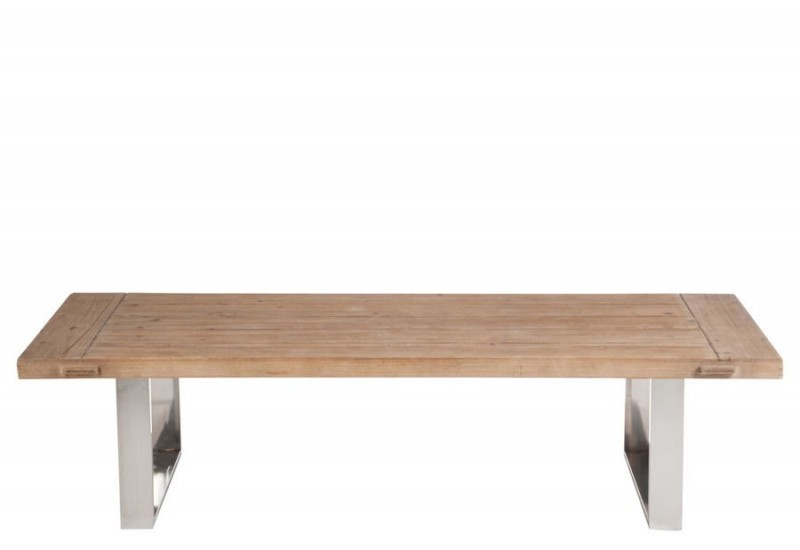 Table De Salon Rectangle Bois M Tal Naturel Argent