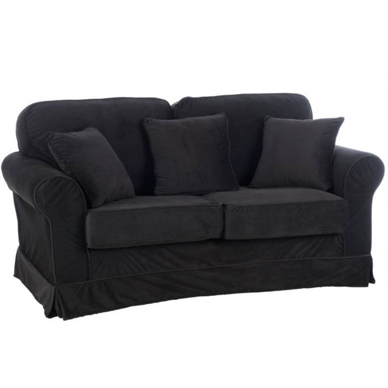 canap 2 places coussins velours noir 168x88x86cm ebay. Black Bedroom Furniture Sets. Home Design Ideas