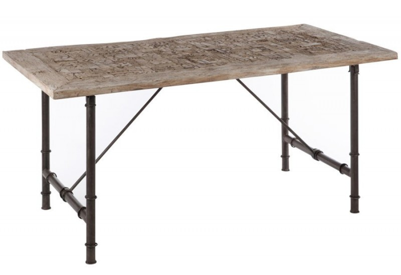 Table manger rectangle bois m tal gris 180x90x75cm j - Table a manger metal et bois ...