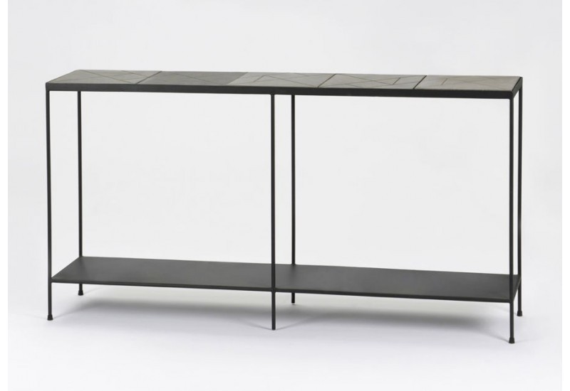 console drapier art d co m tal et b ton gris stone amadeus. Black Bedroom Furniture Sets. Home Design Ideas