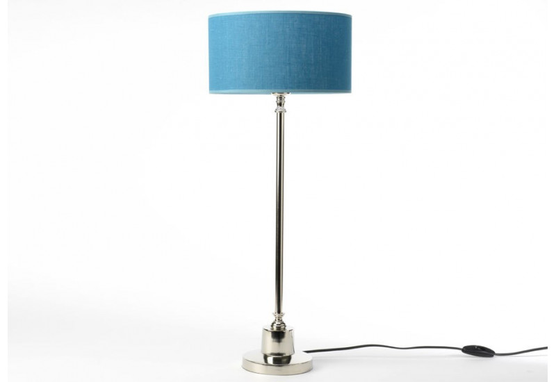 lampe fine chrome abat jour lin bleu canard seattle amadeus 25933. Black Bedroom Furniture Sets. Home Design Ideas