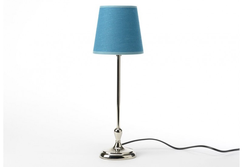 lampe base ovale chrome et abat jour en lin bleu canard. Black Bedroom Furniture Sets. Home Design Ideas