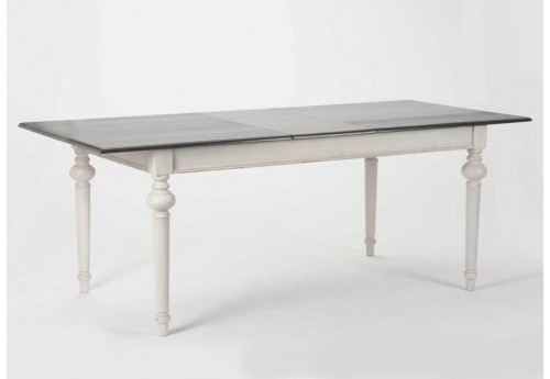 Table rectangulaire grise rallonge 200 cm heritage for Table rectangulaire a rallonge