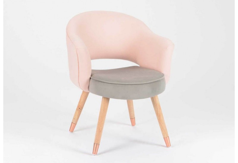 fauteuil scandinave gris et rose pastel amadeus 26433. Black Bedroom Furniture Sets. Home Design Ideas