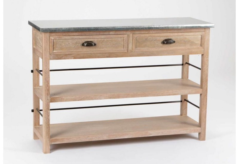 console drapier en bois brut 2 tiroirs plateau zinc. Black Bedroom Furniture Sets. Home Design Ideas