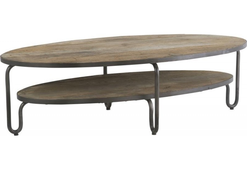 Table basse ovale bois et metal - Table basse ovale bois ...