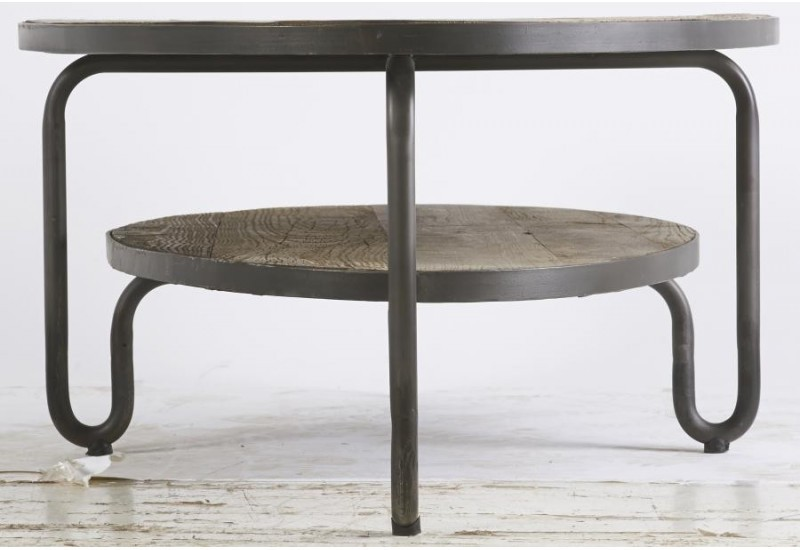 Table basse ovale bois et metal for Table ovale pas cher