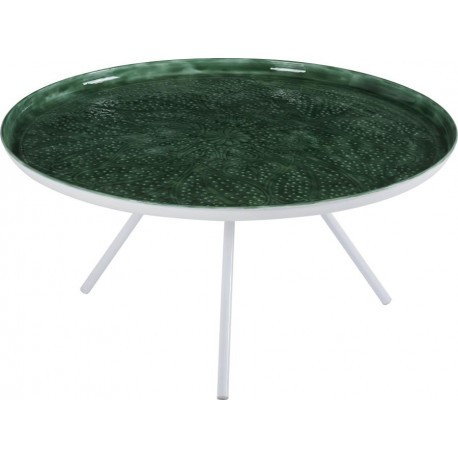 Table basse ronde blanche plateau emmaill vert d80cm for Table basse scandinave ronde copenhague 80