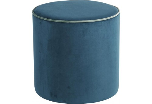 pouf rond velours bleu canard vert de gris d40xh40cm lot. Black Bedroom Furniture Sets. Home Design Ideas