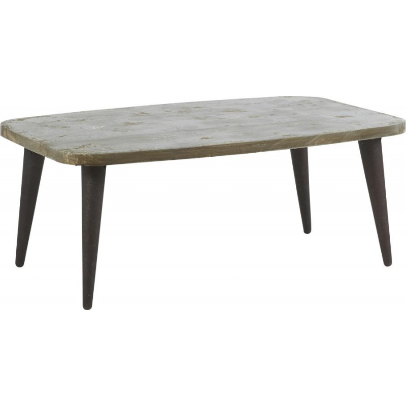 table basse industrielle en manguier blanchi et fer 116x76xh45cm ebay. Black Bedroom Furniture Sets. Home Design Ideas