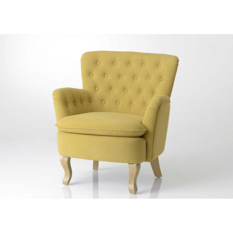 fauteuil crapaud capitonn jaune ebay. Black Bedroom Furniture Sets. Home Design Ideas