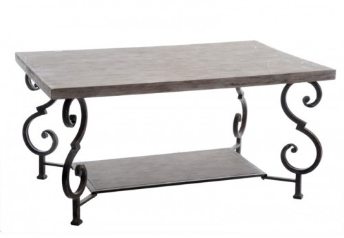 Table Salon Carrée Bois Gris Fer Marron 107X74X57Cm J-line