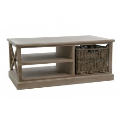 Table Salon Rectangulaire 2 Plateaux/Panier Bois Naturel 120X69X5Cm