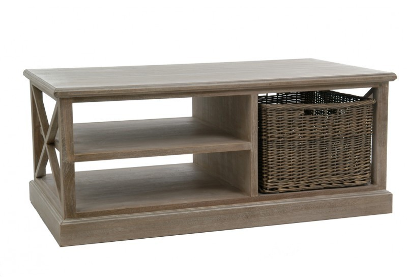 Table Salon Rectangulaire 2 PlateauxPanier Bois Naturel 120X69X5Cm