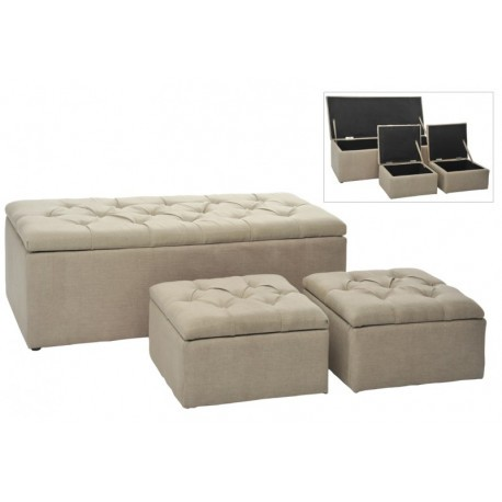 Banc 2 poufs coffre rectangle carre lin beige 125x54cm j - Pouf letto mondo convenienza ...