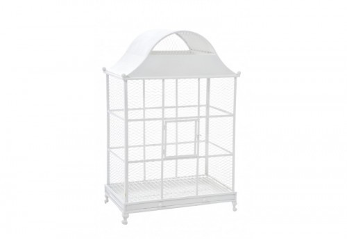 Cage A Oiseau Rectangle Fer Blanc 64X41X64Cm J-line