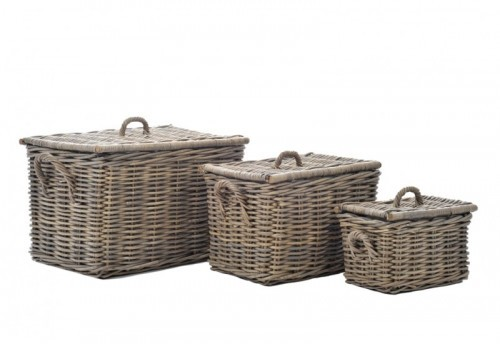 Set 3 Paniers Rectangulaire Rotin Naturel 50X40X35Cm J-line