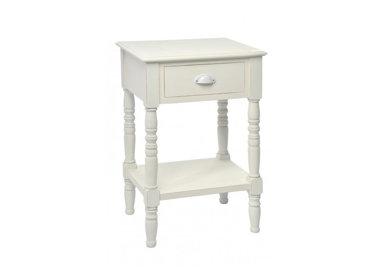 table de nuit 1 tiroir carre bois blanc 48x40x74cm j line j line by. Black Bedroom Furniture Sets. Home Design Ideas