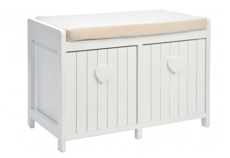 banc coussin 2 tiroirs c ur bois blanc 60x35x42cm j line j line b. Black Bedroom Furniture Sets. Home Design Ideas
