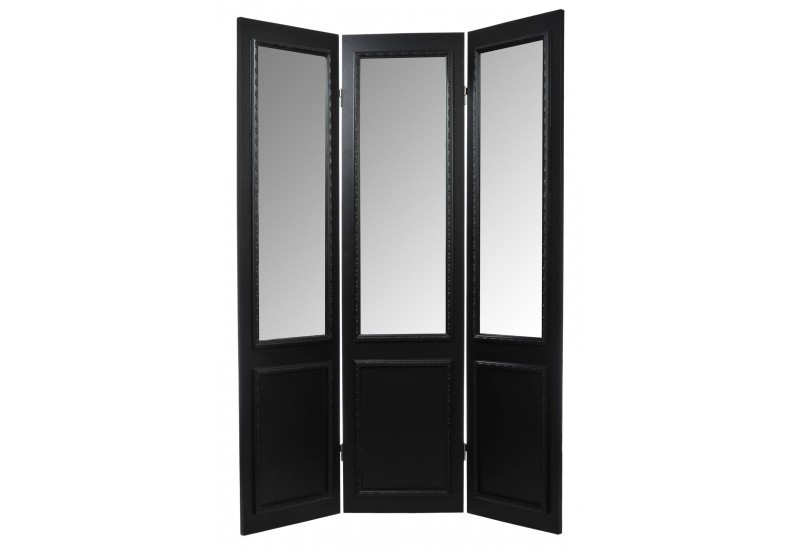 paravent miroir 3 panneaux bois noir 45x180cm j line j line by joli. Black Bedroom Furniture Sets. Home Design Ideas