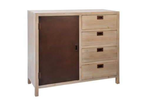Meuble 4 Tiroirs + Porte Naturel/Marron 100X40X85Cm J-line