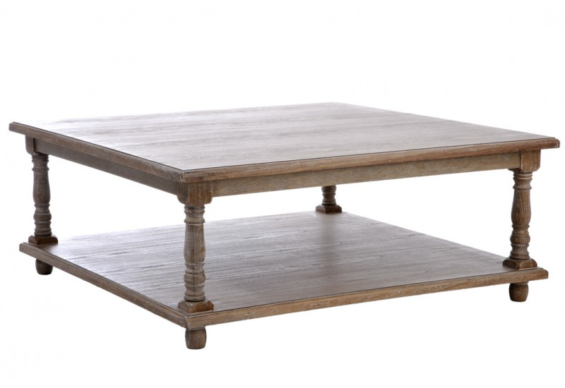 Table de salon carre bois grey 100x100x40cm j line j line - Table basse carre bois ...