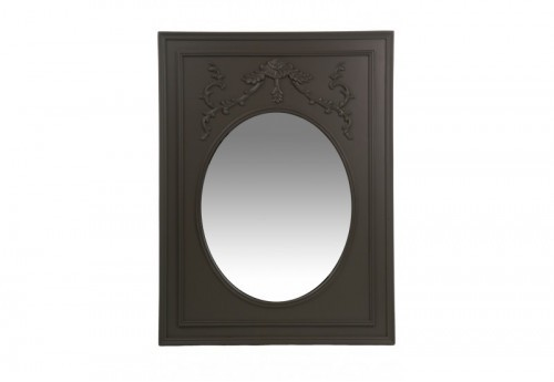 Miroir Rectangle/Ovale + Ornement Bois/Verre Gris 60X80Cm J-line
