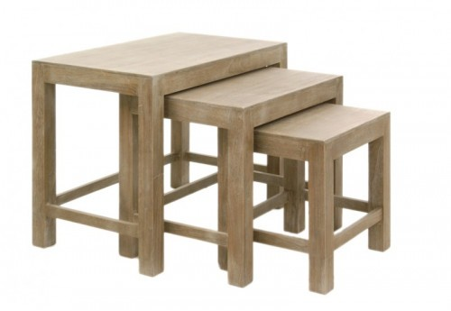 Set De 3 Tables Gigognes Rectangle Bois Naturel 65X40X52Cm