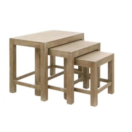 Set De 3 Tables Gigognes Rectangle Bois Naturel 65X40X52Cm