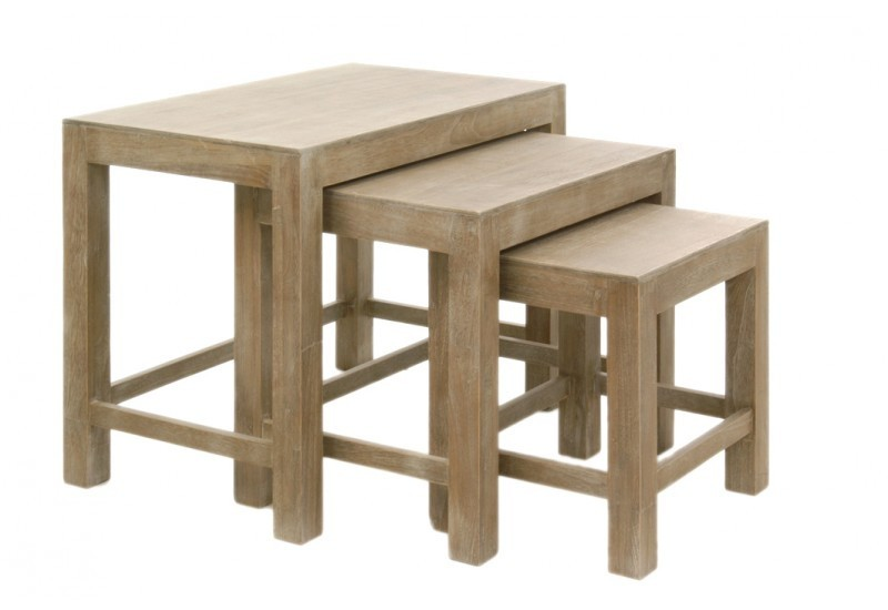 Set de 3 tables gigognes rectangle bois naturel 65x40x52cm for Set de table en bois