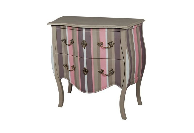 Commode 2 tiroirs rayée vienne PALISSANDRE
