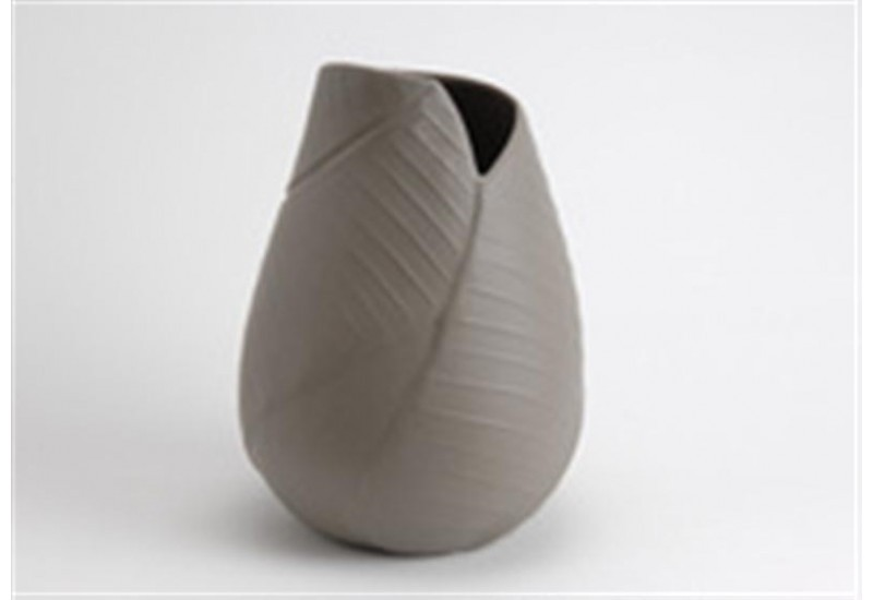 Vase feuille TAUPE