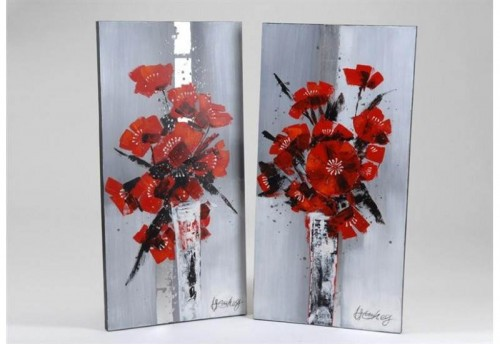 Lot 2 Toiles Bouquet Coquelicot AMADEUS