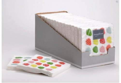 20 Serviettes 33X33 Strawberry Amadeus