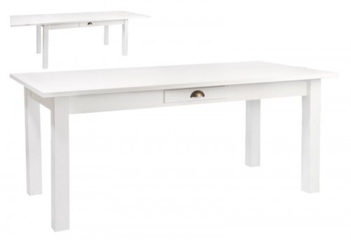 Table Rectangle Escamotable Bois Blanc 180X90X79Cm