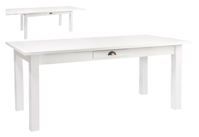 superior table en bois blanche #5: white extendable dining table