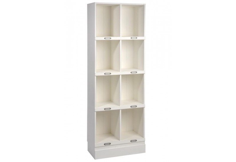 Etag re 8 casiers rectangle bois blanc 60x31x170cm j line - Etagere bois blanc ...