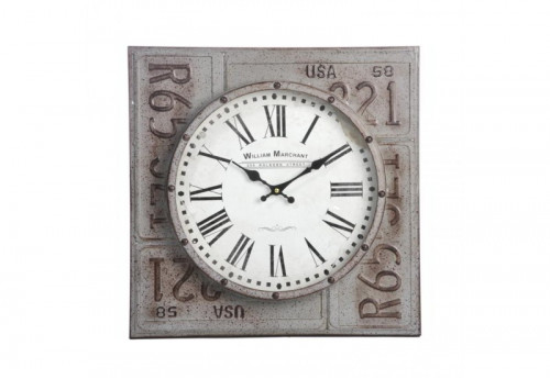 Horloge William Marchant Fer Gris/Marron 45X45X6Cm J-line