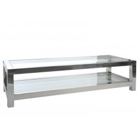 Table Salon Acier Inox/Verre Argent 160X60X40Cm